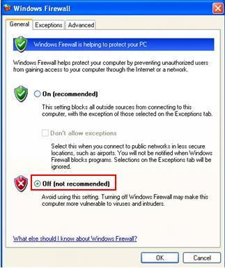 إيقاف تشغيل جدار حماية Windows