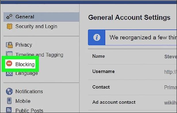 Facebook General Settings