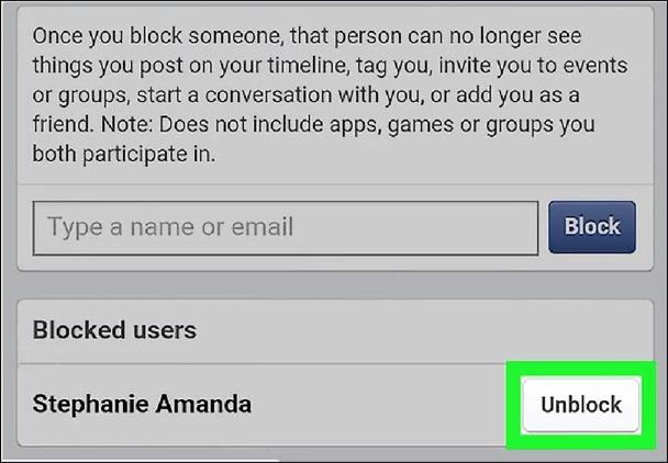 Unblock Facebook Users