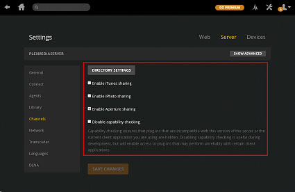 server channel section