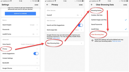 Delete Google Chrome Browsing History on iPhone